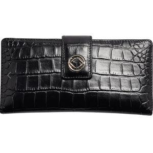 NWT KeriKit England Tilly Wallet (blk croc leathr)